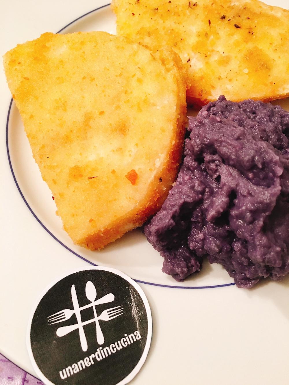 Cotolette di sedano rapa e purè di patate viola